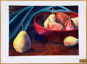 Pears with Red Bowl